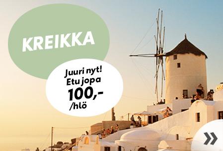 Kreikka – etu jopa 100,-/hlö