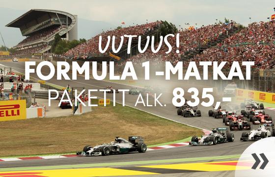 Uutuus! Formula 1 -matkat