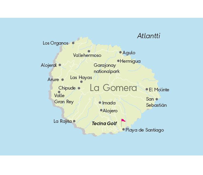 Kartta golfkohteista, Gomera